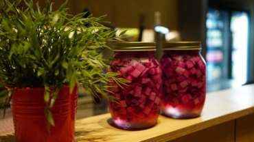 Have you tried our homemade pickled radish with red cabbage??